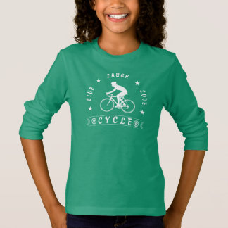Camiseta Texto da Vida Riso Amor Ciclo da senhora (branco)