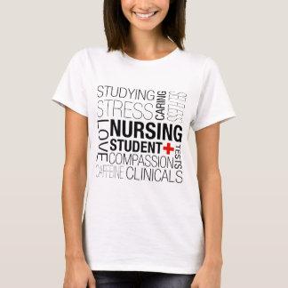 Camiseta Texto de estudante dos cuidados