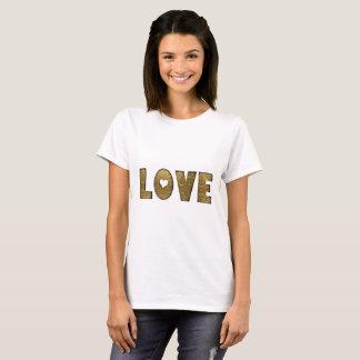 Camiseta Texto do ouro do coração da tipografia do amor