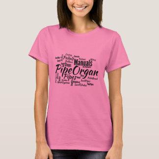 Camiseta Texto do PRETO da nuvem da palavra do órgão de