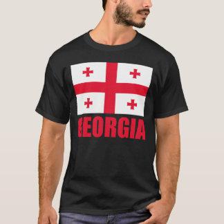 Camiseta Texto do vermelho da bandeira de Geórgia