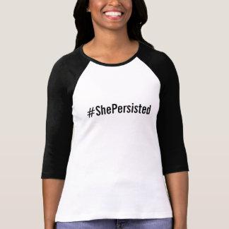 Camiseta texto preto #ShePersisted, corajoso no branco