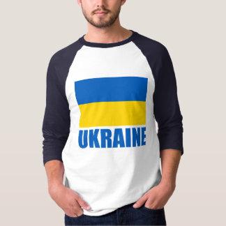 Camiseta Texto ucraniano do azul da bandeira