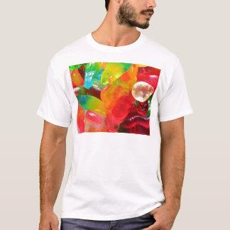 Camiseta textura colorida da goma da geléia