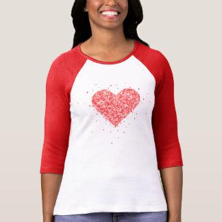 Camiseta Textura vermelha do brilho do falso do coração dos