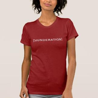 Camiseta Thunderation! texto branco corajoso na obscuridade