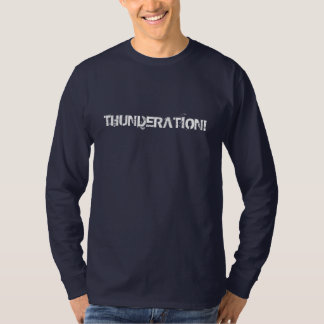 Camiseta THUNDERATION! texto branco sujo no marinho