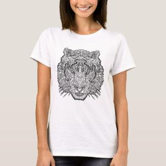 Camiseta Tigre - ilustração preto e branco - coloração