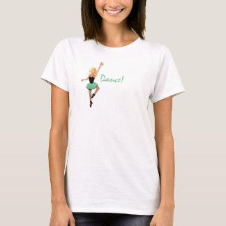 """Camiseta Tina """"dança!"""" o T das mulheres claras da asa-para"""