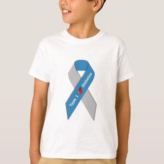 Camiseta Tipo - 1 fita da consciência do diabetes