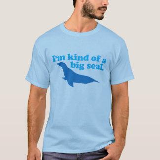 Camiseta Tipo de um azul grande do selo