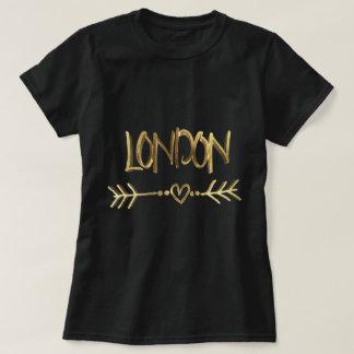 Camiseta Tipografia BRITÂNICA do olhar do ouro do preto do
