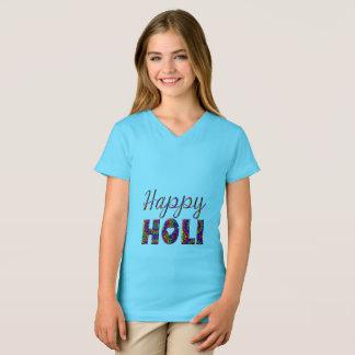 Camiseta Tipografia colorida feliz de Holi