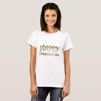 Camiseta Tipografia elegante feliz do olhar do ouro de