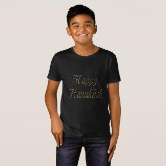 Camiseta Tipografia feliz Chanukah elegante do ouro de