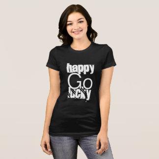Camiseta Tipografia Feliz-Ir-Afortunada do branco do preto
