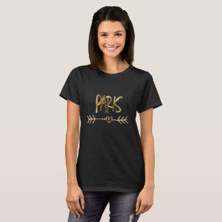 Camiseta Tipografia preta do olhar do ouro de Paris France