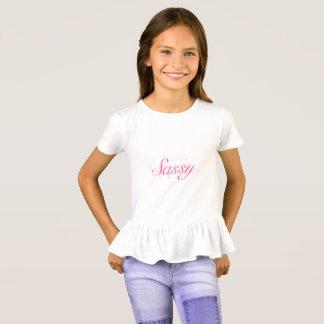 Camiseta Tipografia Sassy cor-de-rosa