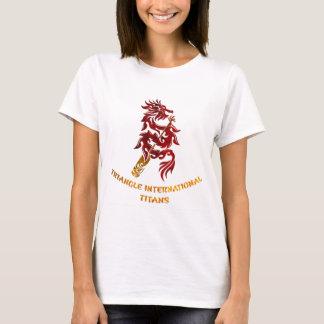Camiseta Titã internacionais do triângulo (texto do ouro)