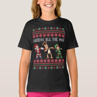 Camiseta Tocando todo o Xmas feio do duende da rena do