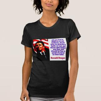 Camiseta Todos estão livres acreditar - Ronald Reagan