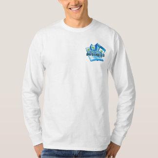 Camiseta Tomando da luva longa branca de homens de negócio