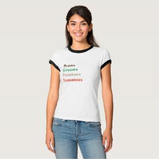 Camiseta TOMATES das BATATAS dos VERDES dos FEIJÕES - T