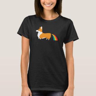 Camiseta Tombadilho do arco-íris da ilustração do Corgi
