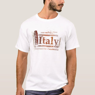 Camiseta Torre inclinada de Italia do vintage do selo do