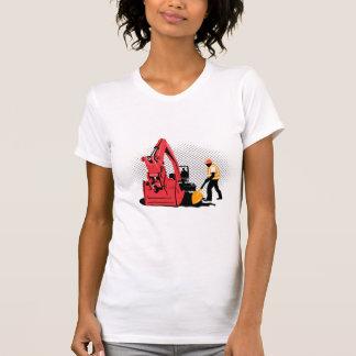 Camiseta trabalhador da construção mecânico do escavador da
