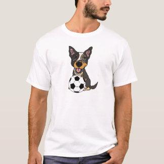 Camiseta Trabalhos de arte australianos do futebol do cão