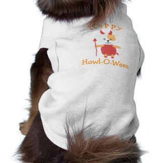 Camiseta Traje feliz bonito do diabo do cão do Dia das