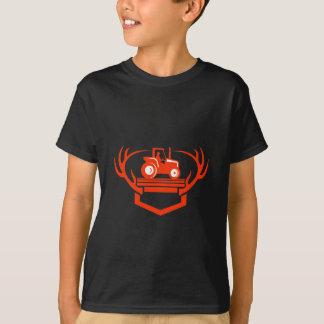 Camiseta Trator do Antler dos cervos da cauda branca retro