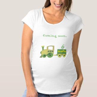 Camiseta trem com os meses da gravidez