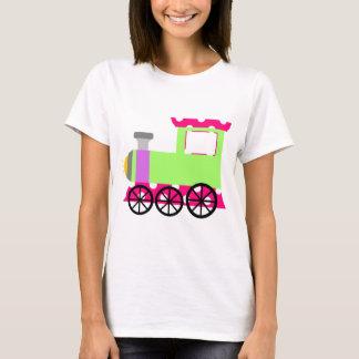 Camiseta Trem cor-de-rosa de Choo Choo das bolinhas
