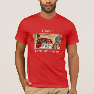 Camiseta Trem vermelho do Natal do vintage