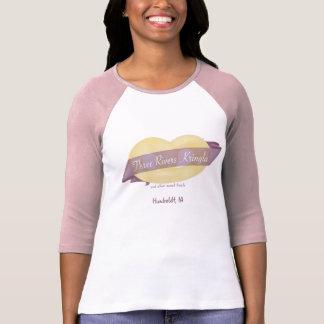 Camiseta Três de t-shirt da luva das mulheres de Kringla