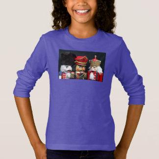 Camiseta Três nutcrackers na camisola da menina preta