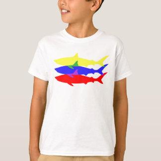 Camiseta Três tubarões coloridos
