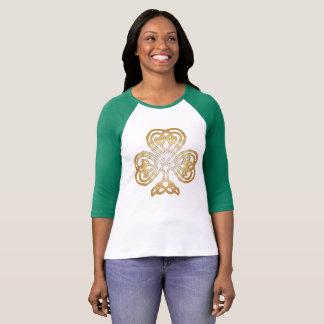 Camiseta Trevo celta de brilho dourado