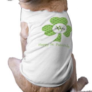 Camiseta Trevo com bolinhas e cão feito sob encomenda do