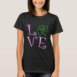 Camiseta Trevo do amor - rosa e verde