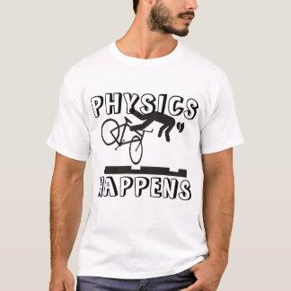 Camiseta Trilhas do carro da rua + o bicyclist = a física