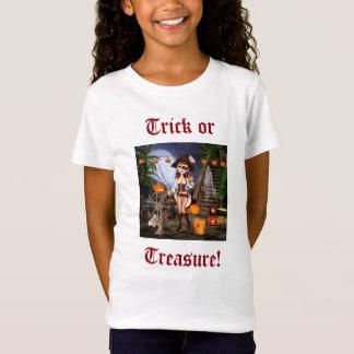 Camiseta Truque da menina do pirata do Dia das Bruxas ou