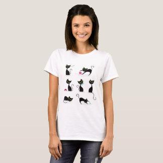 Camiseta Tshirt branco das senhoras com gatos