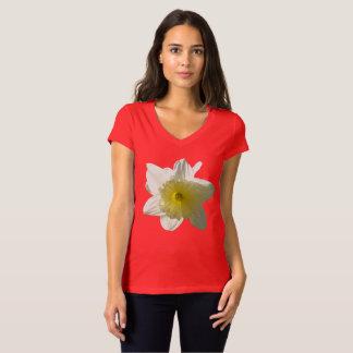 Camiseta TShirt branco do V-pescoço do Daffodil