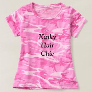 Camiseta Tshirt chique do rosa do camo do cabelo Kinky