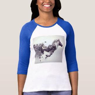 Camiseta tshirt cinzento por muito tempo sleeved do cavalo