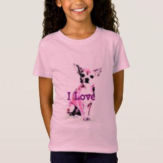 Camiseta Tshirt cor-de-rosa da menina da chihuahua