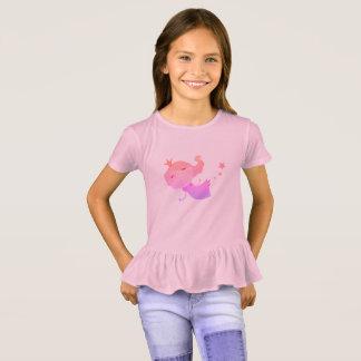 Camiseta Tshirt cor-de-rosa das meninas com menina da